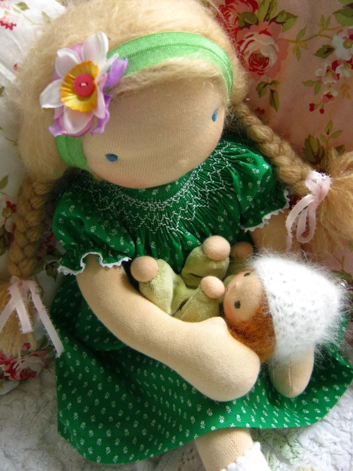 Irish doll with smocked dress by Poppenliefde Waldorf Dolls