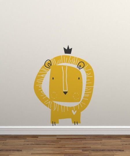 baby zoo lion king wall decal yellow gold white fun kids decor. Black Bedroom Furniture Sets. Home Design Ideas