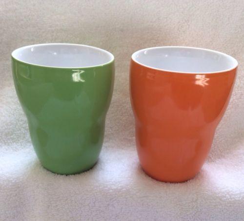 Two 2008 starbucks coffee mugs cups aida olive avacado green orange h - Handleless coffee mugs ...