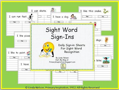 FREE templates for Sight Word Sign-Ins