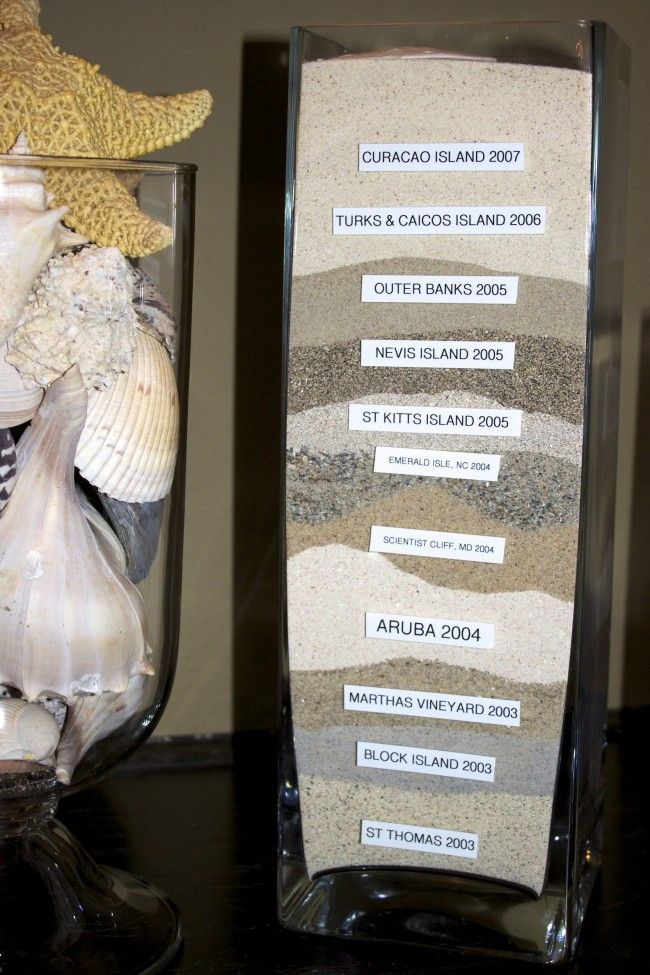 Vacation memories -- Such a cute idea. and so cool to see the different sand!