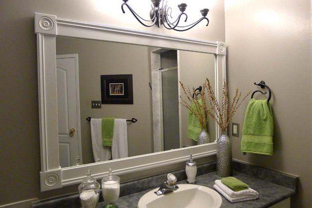 Bathroom mirror frames diy moms stuff pinterest for A frame bathroom ideas