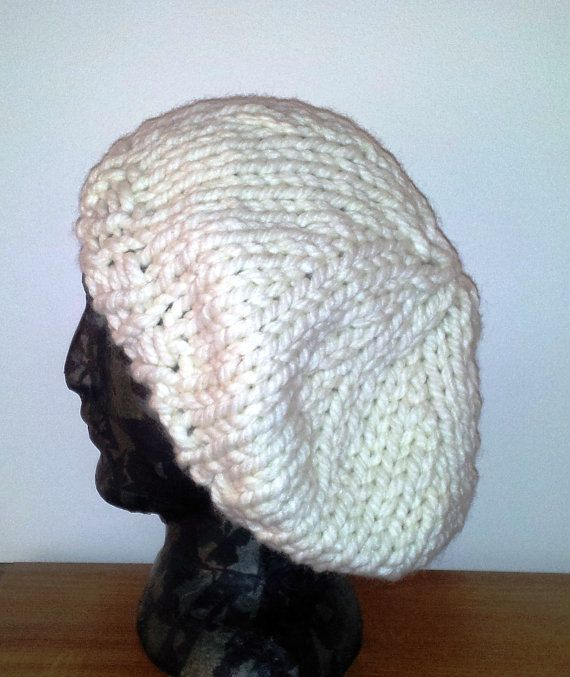 Knitting Pattern For Floppy Beanie : Slouch beanie knit slouchy hat, white wool hat