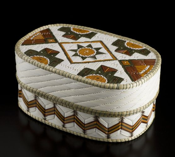 Quill Basket (Oval Geometric design), by Lorraine Besito, Ojibwa (Saugeen) artist.