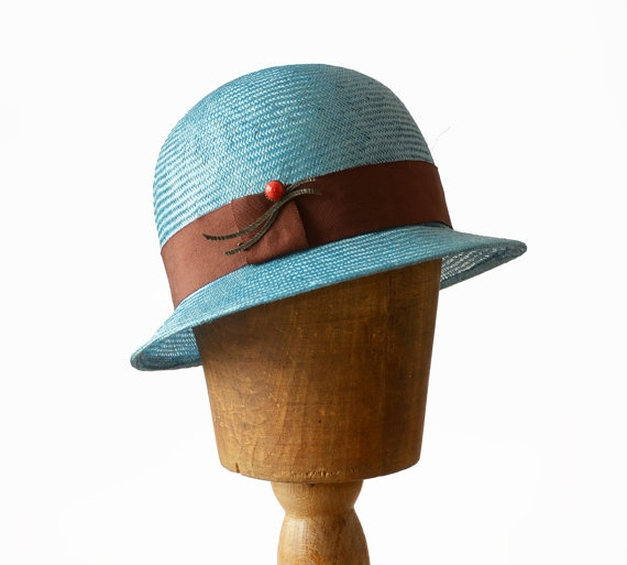Cloche flapper straw hat turquoise blue great gatsby 1920 s inspired