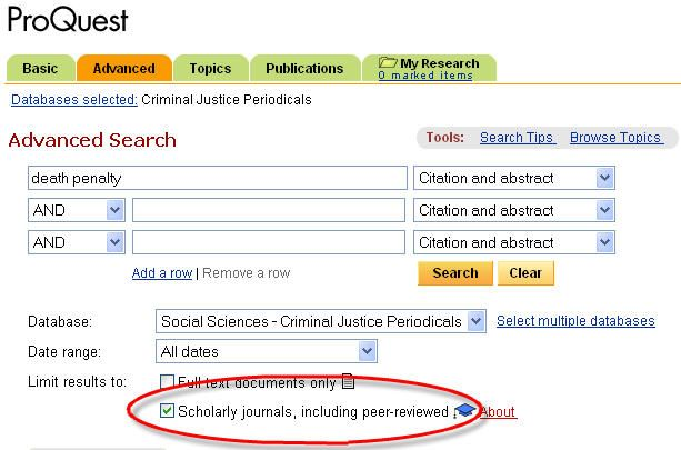 scholarly peer reviewed research articles