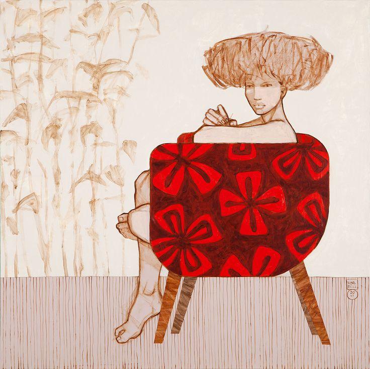 Warecki Michał, Bambusy, akryl, płótno, 100 x 100 cm.