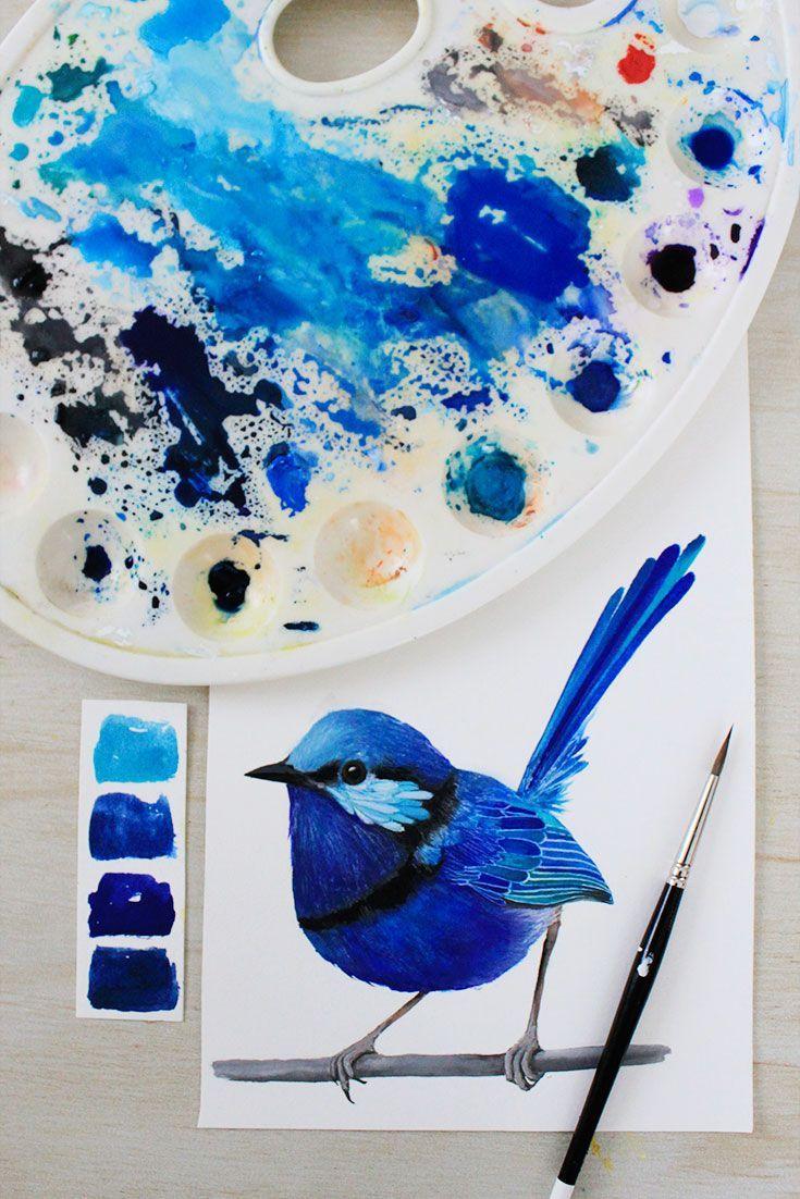 Flying blue bird painting