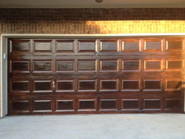 How to faux finish your garage doors to look like wood. The before and