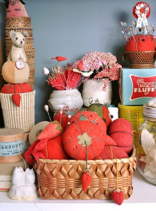 vintage tomato pin cushions