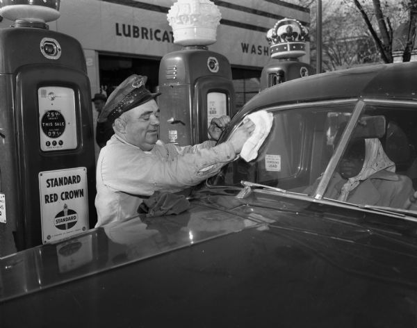 Getting your windows washed, tires, water & oil checked at Full Service gas station. The attendants did everything back then. Oh how nice it was to pull into a gas station and the gas price was 25 CENTS A GALLON. CAN YOU BELIEVE IT?