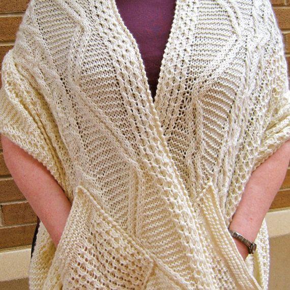 Knitting Pattern For A Shawl With Pockets : Knit Wrap Pattern: Warm Fisherman Pocket Shawl Knitting Pattern