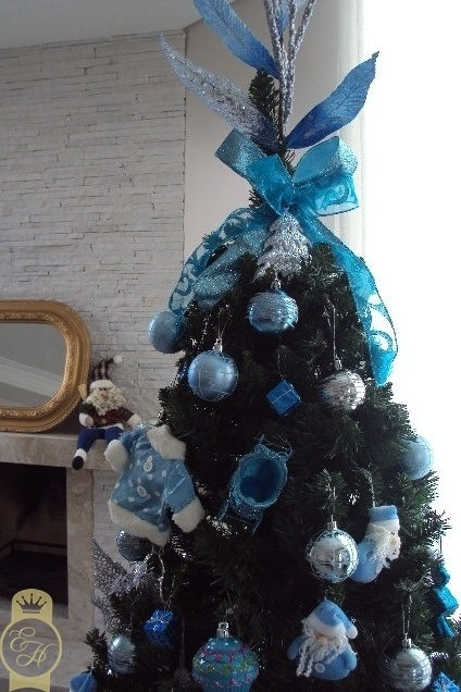 decoracao de arvore de natal azul e prata : decoracao de arvore de natal azul e prata:decoração