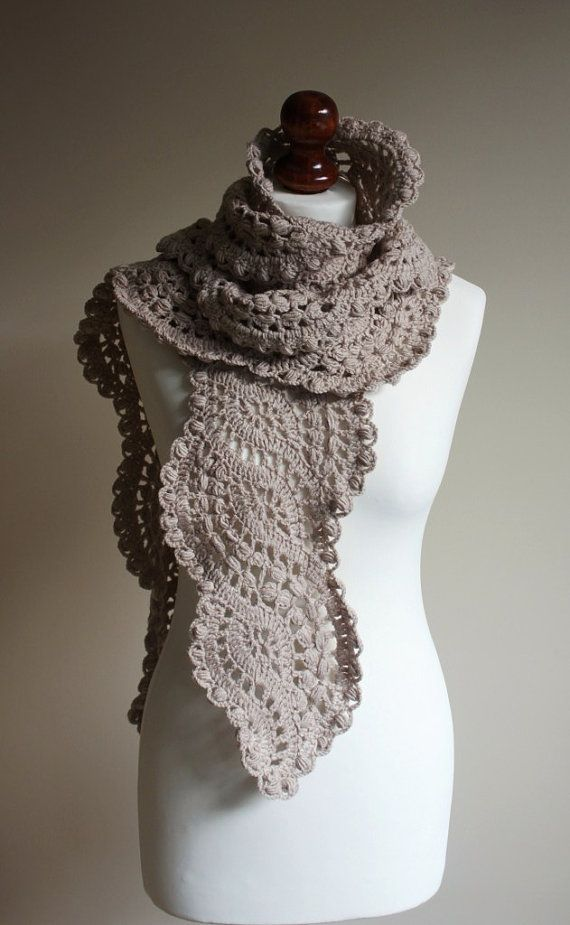 Crocheted long lace scarf.