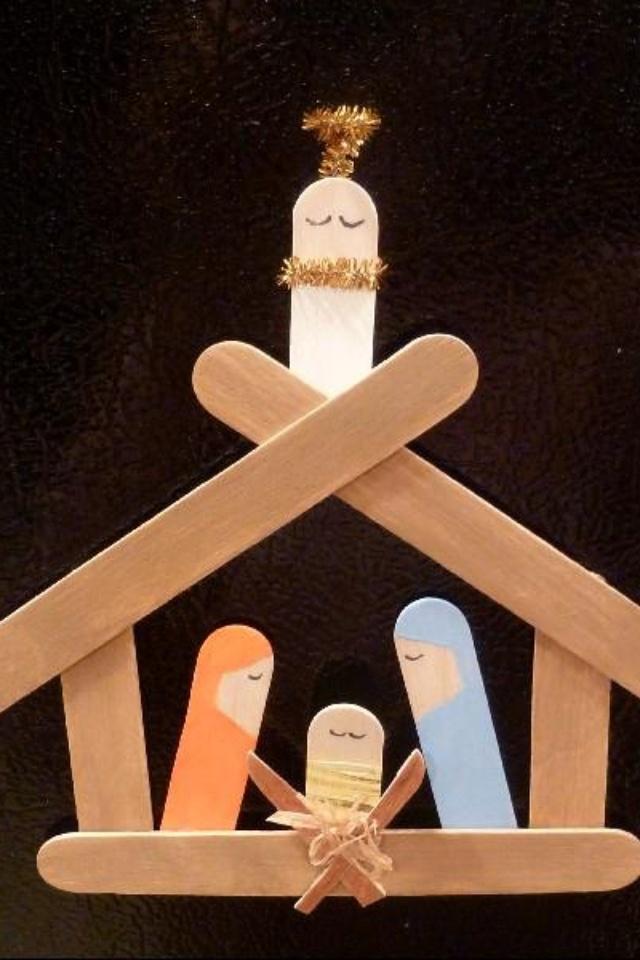 popsicle manger scene christmas pinterest