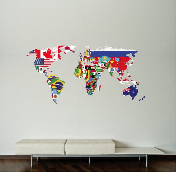 World Map Decal Flags World Map Wall Decal Wall Sticker