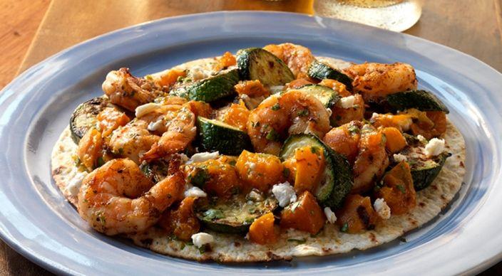 Shrimp Tostadas with Apricot-Cilantro Salsa and Feta. My husband made ...