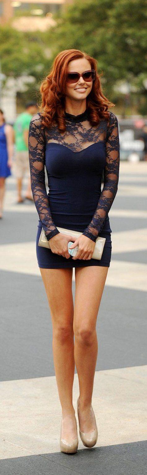 Street styles | Navy Lace dress
