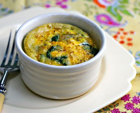 Baked egg with bacon, spinach and mushrooms. I love this site http ...