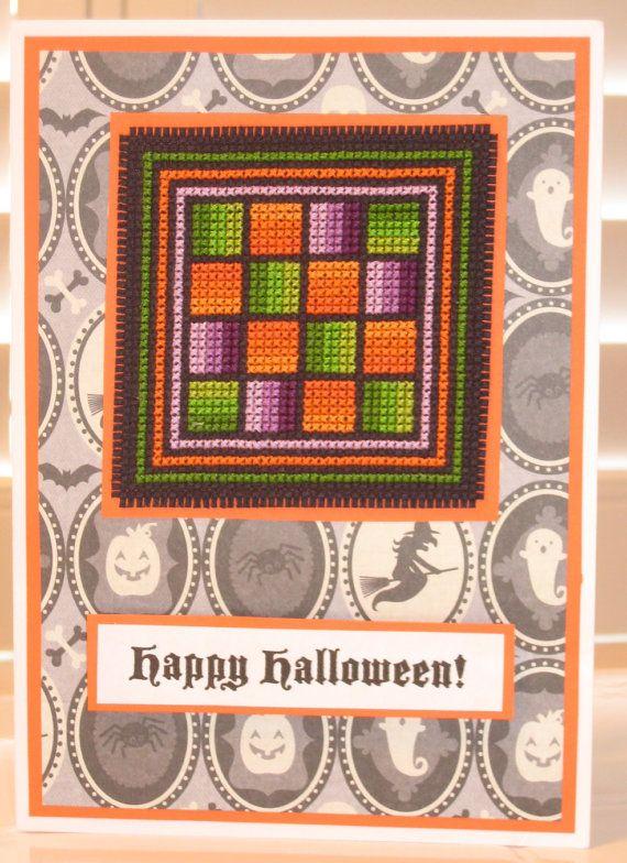 Happy Halloween Rail Fences Cross Stitch Card by CrossStitchCards, £6 ...