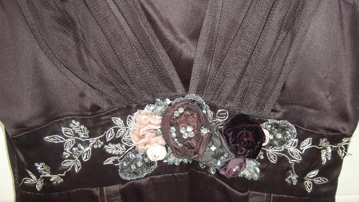 Brown silk dress with chiffon straps and ornate flower detail karen