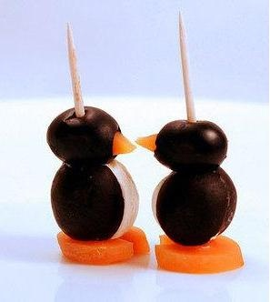 cream cheese penguins with black olives, cream and carrots (carrots to ...