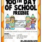 100th Day of School Freebie {Printables}  This freebie includes printables that can be used on the 100th Day of School.  Includes: 100 Things Bag  ...