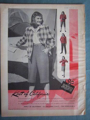 1947 Koret of California Women s Jackshirt Jacket Shirt Fashion Color