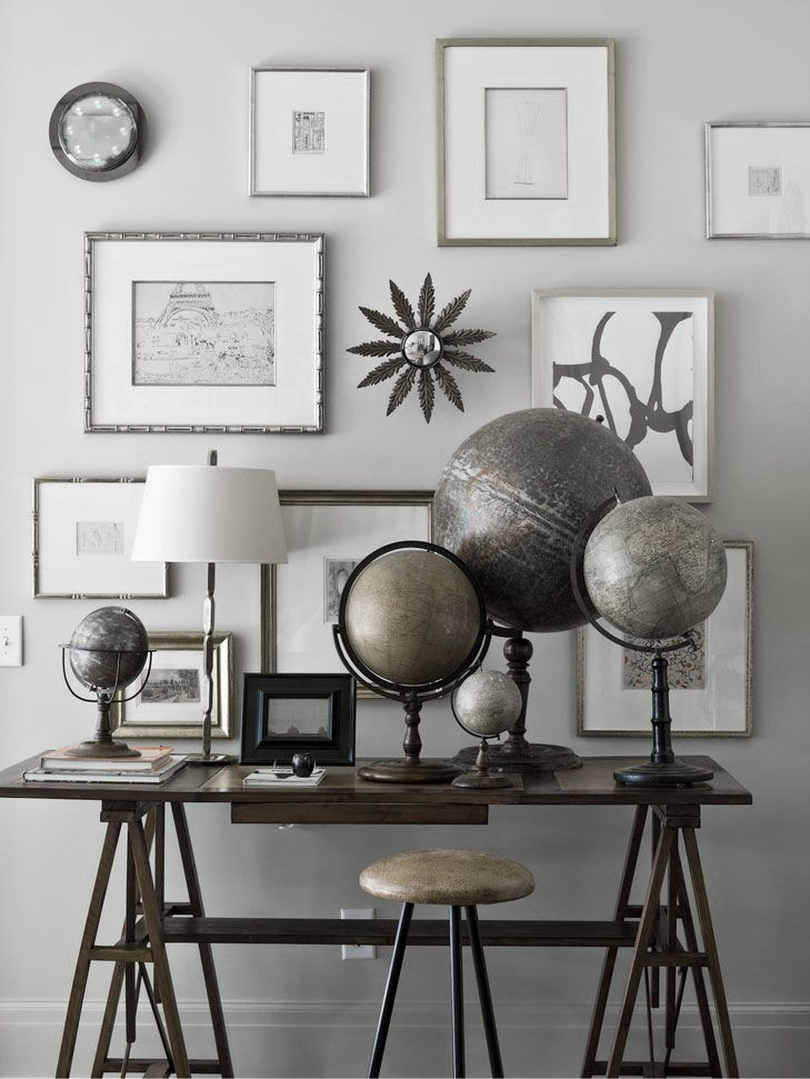 ♅ Dove Gray Home Decor ♅  great globe collection on desk