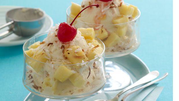 colada vanilla ice cream sundaes with cream of coconut, pineapple, rum ...