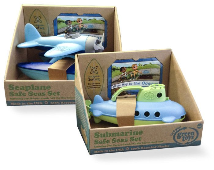 The new Green Toys biplane and submarine is perfect for the pool. Made from recycled milk jugs, and they help teach kids about protecting the seas.