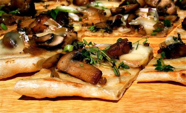Grilled Flat Bread with Crimini Mushrooms, Taleggio and Truffle Oil