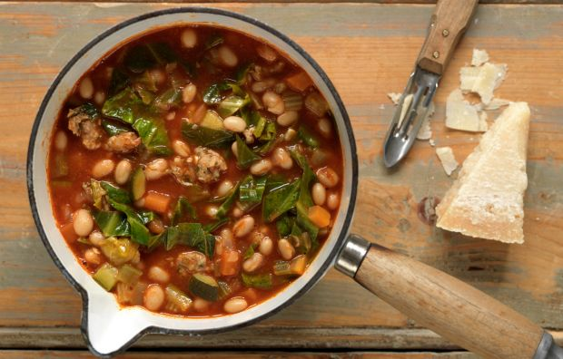 Rustic Tuscan Bean and Sausage Soup- This filling soup is perfect to ...