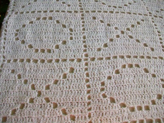 Crochet Baby Blanket White Hugs and Kisses Pattern