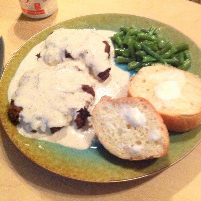 Chicken fried steak using Bisquick (batter is Bisquick, salt, and ...