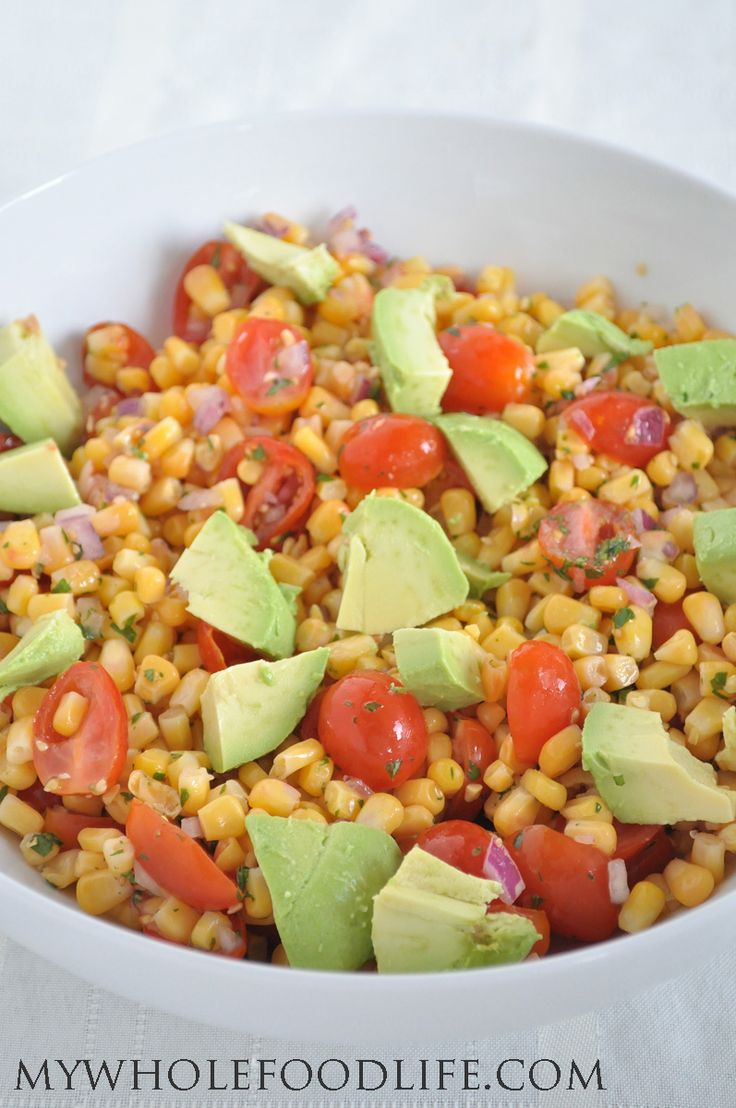 Corn, Tomato and Avocado Salad is the perfect summer side dish! Only a ...