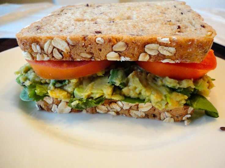mashed chickpea and avocado sandwich | Vegan | Pinterest