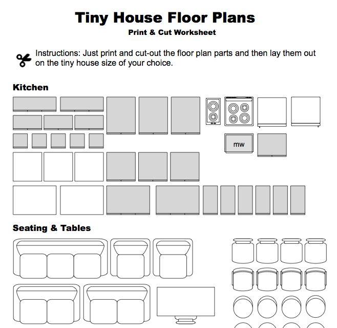 Print Cut Floor Plan Worksheet Small Houses Pinterest