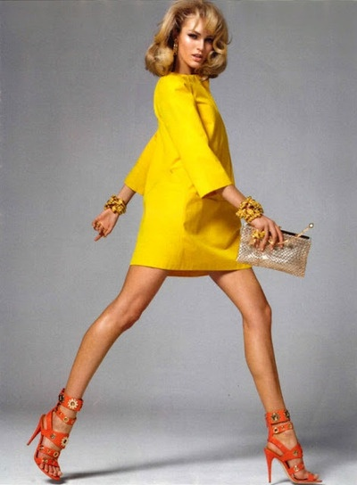dress, yellow, heels, fashion