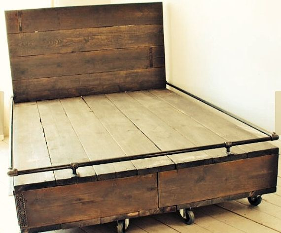 Reclaimed Wood And Iron Pipe Bed