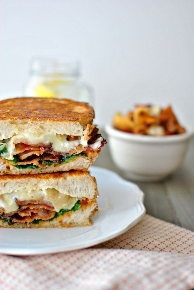 Sundried Tomato Pesto, Spinach + Peppered Bacon Grilled Cheese l www ...