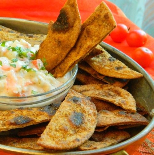 from Indian Chapati - spiced up - and goes with vegetable raita as dip ...