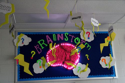 """Love this idea for a bulletin board!  Great decor for a  """"Brainstorming"""" Corner."""