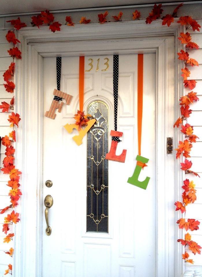 fall door decor fall fun pinterest. Black Bedroom Furniture Sets. Home Design Ideas