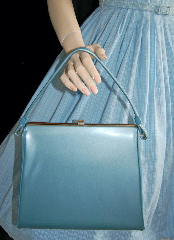 ... 50s Kelly Bag  50s Light Blue Handbag  Patent Leather Purse