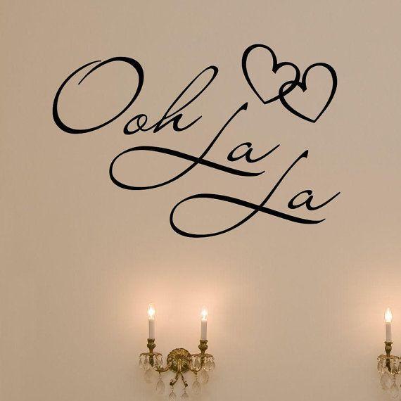 OOH LA LA Paris France Hearts Love Quote Vinyl Wall Decal
