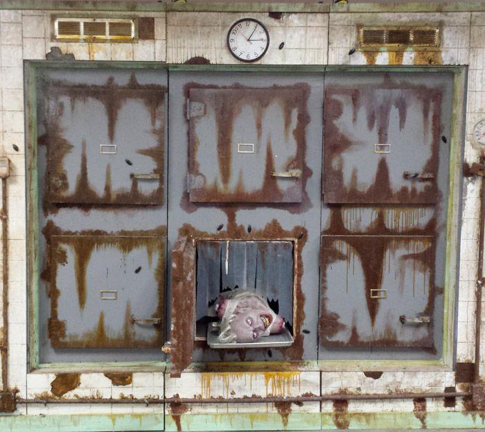 LIFE LIKE MORGUE  Halloween  Pinterest ~ 074650_Halloween Asylum Door Prop