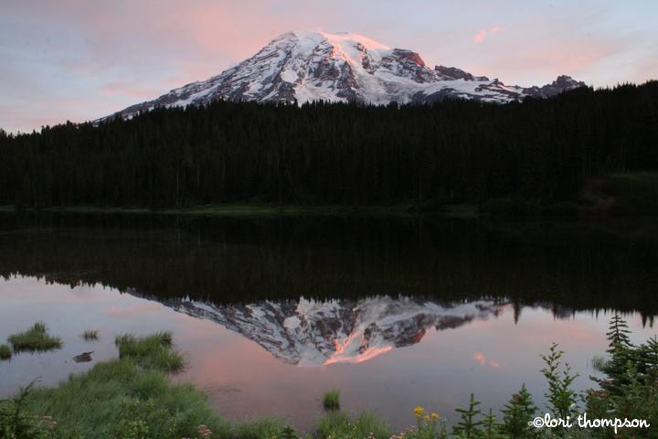 Mount Rainier and Reflection Lake at sunrise