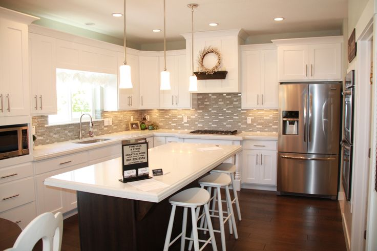 White cabinets, dark island  Kitchen Dining rooms  Pinterest