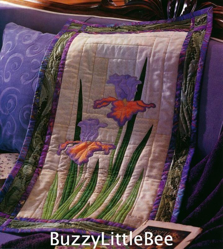 Quilt Pattern~Splendid Iris~Wall Hanging~Flower~Spring~Bright~Beautif?